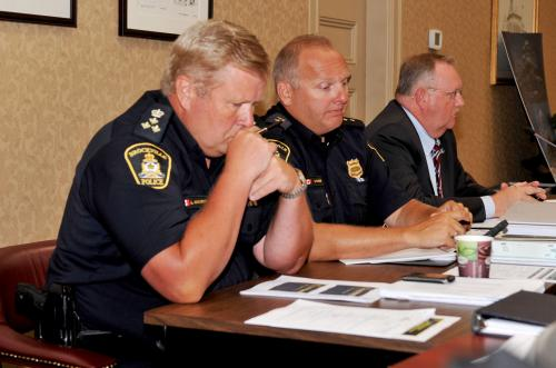Brockville Police Service Deputy Chief Lee MacArthur, left, Insp. Scott Fraser and Chief John Gardiner at the contact committee meeting Monday.